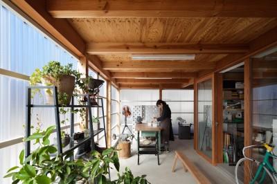 土間スペース(アトリエスペース) (守谷の住宅)