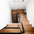全長5mの造作ソファでのんびりダイニングのお家の写真 階段