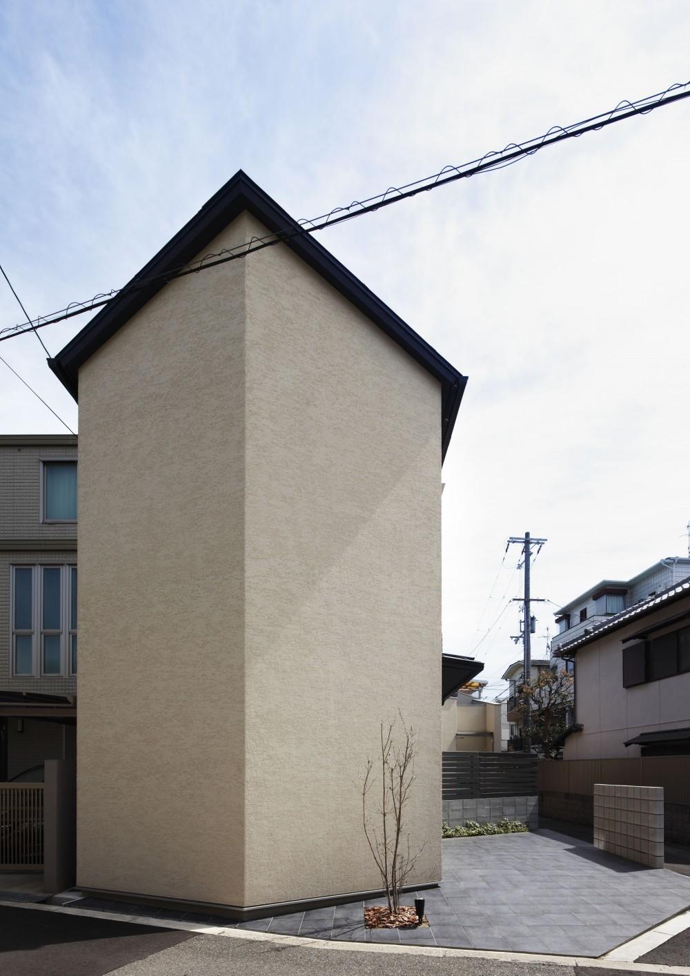 中庭のある無垢な珪藻土の家 – 共働き世帯の家事効率を練りに練ったプラン – (外観 西から)