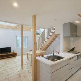 オープンキッチン (キャットウォークと大型吹抜けのある家)