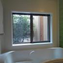 三つの陸屋根を持つコートハウスの写真 浴室から中庭を見る