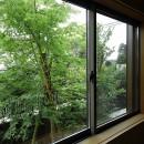 三つの陸屋根を持つコートハウスの写真 和室からの眺め