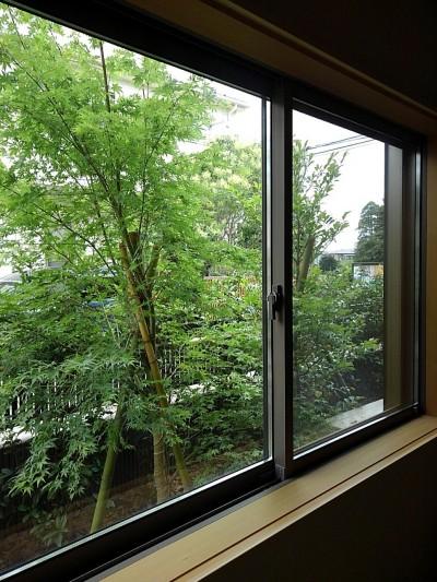 和室からの眺め (三つの陸屋根を持つコートハウス)