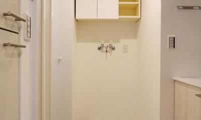 キャットウォークのあるリビング (洗面室)