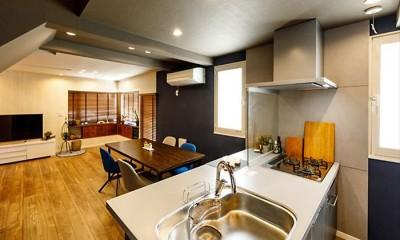 「色」の組み合わせを楽しむ、開放的な北欧スタイルリビング (【キッチン】)