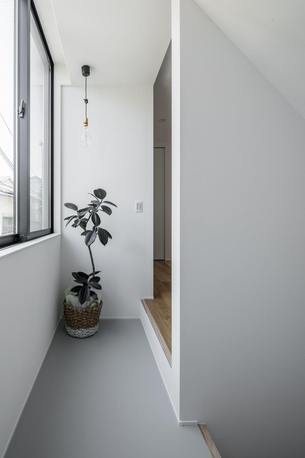 長岡京市の家(15坪の狭小地に建つ狭さを感じさせない3階建て住宅) (階段ホール)
