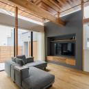 上笠の家(インナーガレージでプライベート空間を作りつつも開放的なリビングのある家)の写真 造作TVボード