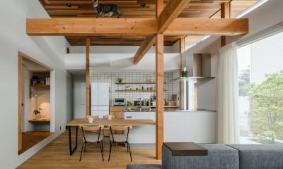キャットウォークのあるリビング|上笠の家(インナーガレージでプライベート空間を作りつつも開放的なリビングのある家)
