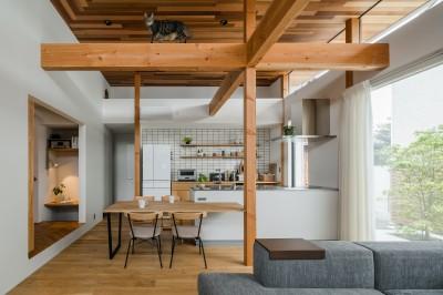 キャットウォークのあるリビング (上笠の家(インナーガレージでプライベート空間を作りつつも開放的なリビングのある家))