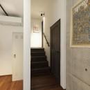 アレルギー反応を持つ子供が住むための和モダン住宅/美しい空気の家の写真 階段