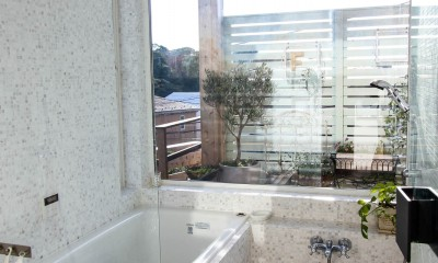 カラフルな異素材ハウス (バスルーム)