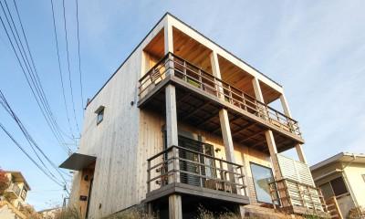 カラフルな異素材ハウス
