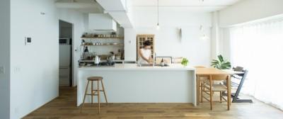 白を基調としたアイランドキッチン (ミュージアムのような白い空間を、回遊性のある間取りにリノベーション)
