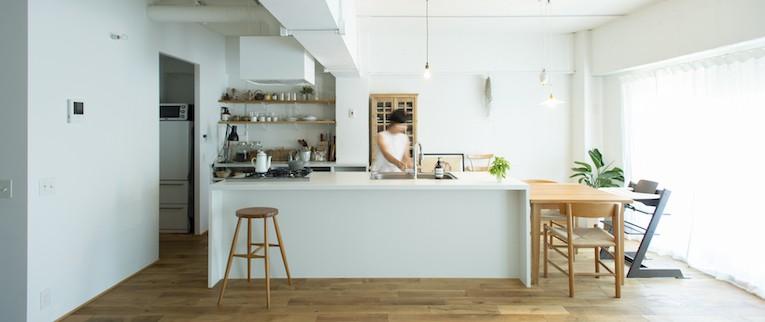 ミュージアムのような白い空間を、回遊性のある間取りにリノベーション (白を基調としたアイランドキッチン)