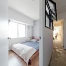 ステンシル文字をちりばめての写真 寝室