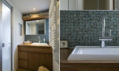 浜田山の家|スタイリッシュなNYスタイルの空気が漂う大階段のリノベーション (洗面・浴室)