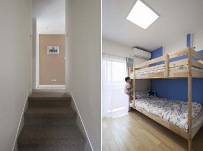廊下、子供室 (浜田山の家|スタイリッシュなNYスタイルの空気が漂う大階段のリノベーション)