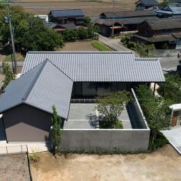 外観 ドローン撮影 (山隈の家)