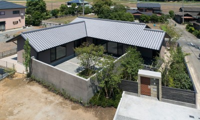 山隈の家 (外観 ドローン撮影)