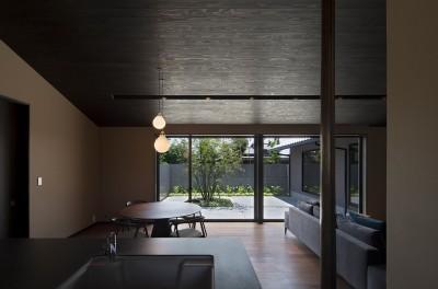 山隈の家 (キッチンよりダイニング越しに中庭を観る)