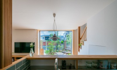椿山の家 (キッチンから庭をみる)