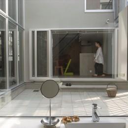 コッソリッヒ 中庭を巻き込むようなスキップ空間 (中庭越しにダイニングと繋がる洗面室)