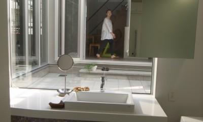 コッソリッヒ 中庭を巻き込むようなスキップ空間 (洗面室)