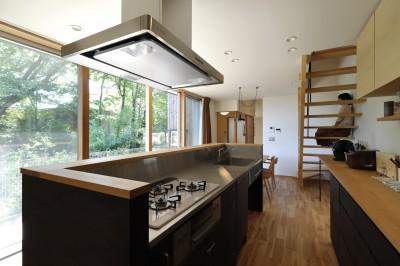 キッチン (奥ゆかしさと温もりのある家~家事らくで暮らしやすい和モダンの家~)