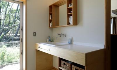 洗面脱衣室|奥ゆかしさと温もりのある家~家事らくで暮らしやすい和モダンの家~