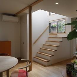 緑に囲まれて暮らす家 (リビング階段)