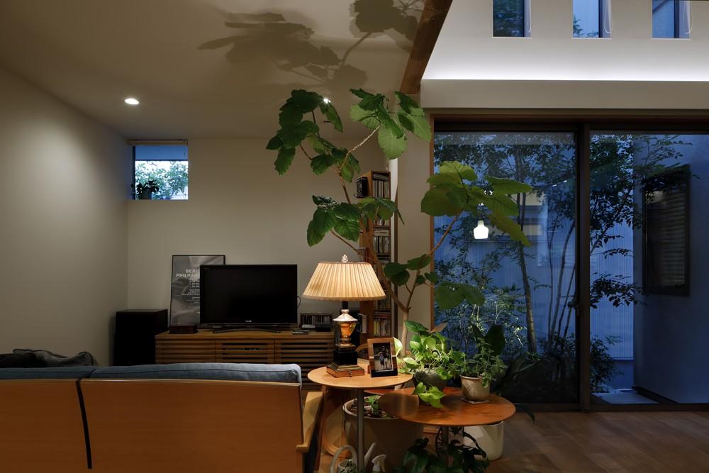 緑に囲まれて暮らす家 (リビング)