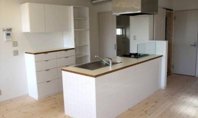 【大阪府】狭小物件を広く見せる光が特徴的な戸建て住宅 (キッチン&リビング)