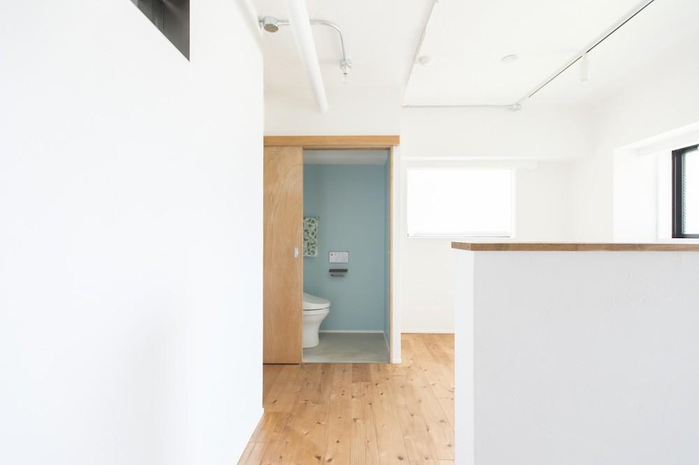 こだわりのお風呂と広々とした爽やかリビングが特徴のお部屋 (トイレの壁は水色で爽やかに)