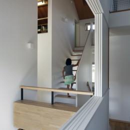 小さな吹抜けとペレットストーブの家 (階段)