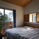 小さな吹抜けとペレットストーブの家の写真 寝室