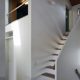 小さな吹抜けとペレットストーブの家 (ロフトヘの階段)