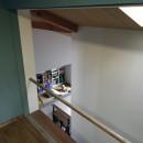 小さな吹抜けとペレットストーブの家の写真 書斎からの見下ろし