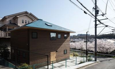 四つ角の家|家の中に4つの小さな家がある住宅【大阪府堺市】 (北西から見る。桜並木の先はなだらかな丘陵。アプローチは建物のかたちを踏襲した正方形のコンクリート土間。)