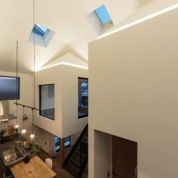 四つ角の家|家の中に4つの小さな家がある住宅【大阪府堺市】 (手吹きガラスのダイニングペンダント。ダクトレールを細い鋼材で吊るす。)