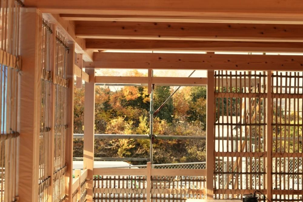 岐阜の石場建て[工事中] (荒壁の竹小舞下地)