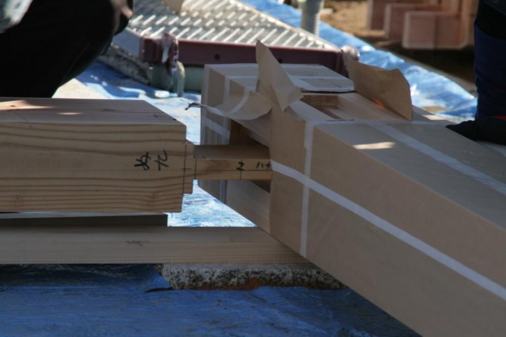 岐阜の石場建て[工事中] (手刻みの構造材の仕口)