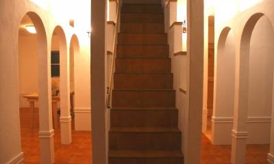 【吹田市】ウッドデッキをフル活用できる注文戸建て (階段)