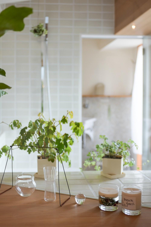 文京区Iさんの家 (リビングから浴室を望む)