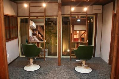 カット室 (【摂津市 店舗】純和風の古民家の特長を最大活用しリノベーション)