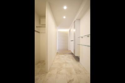 玄関・ホール (グレートーンの空間に明るい陽を入れ、間取りの中心にⅡ型キッチンを。)
