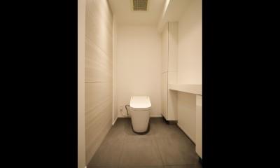 グレートーンの空間に明るい陽を入れ、間取りの中心にⅡ型キッチンを。 (トイレ)