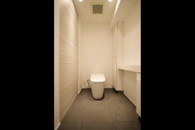 トイレ (グレートーンの空間に明るい陽を入れ、間取りの中心にⅡ型キッチンを。)