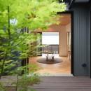 埼玉県北鴻巣の家の写真 中庭からリビングを望む