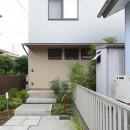 埼玉県北鴻巣の家の写真 駐車スペースからエントランスへ