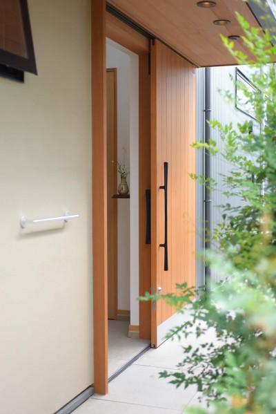 引き戸の玄関ドア (埼玉県北鴻巣の家)